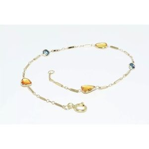 Jewelry - 14kt yellow sapphire/blue diamond bracelet